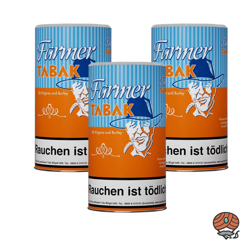 3 x Farmer Tabak Pfeifentabak / Stopftabak 170 g Dose