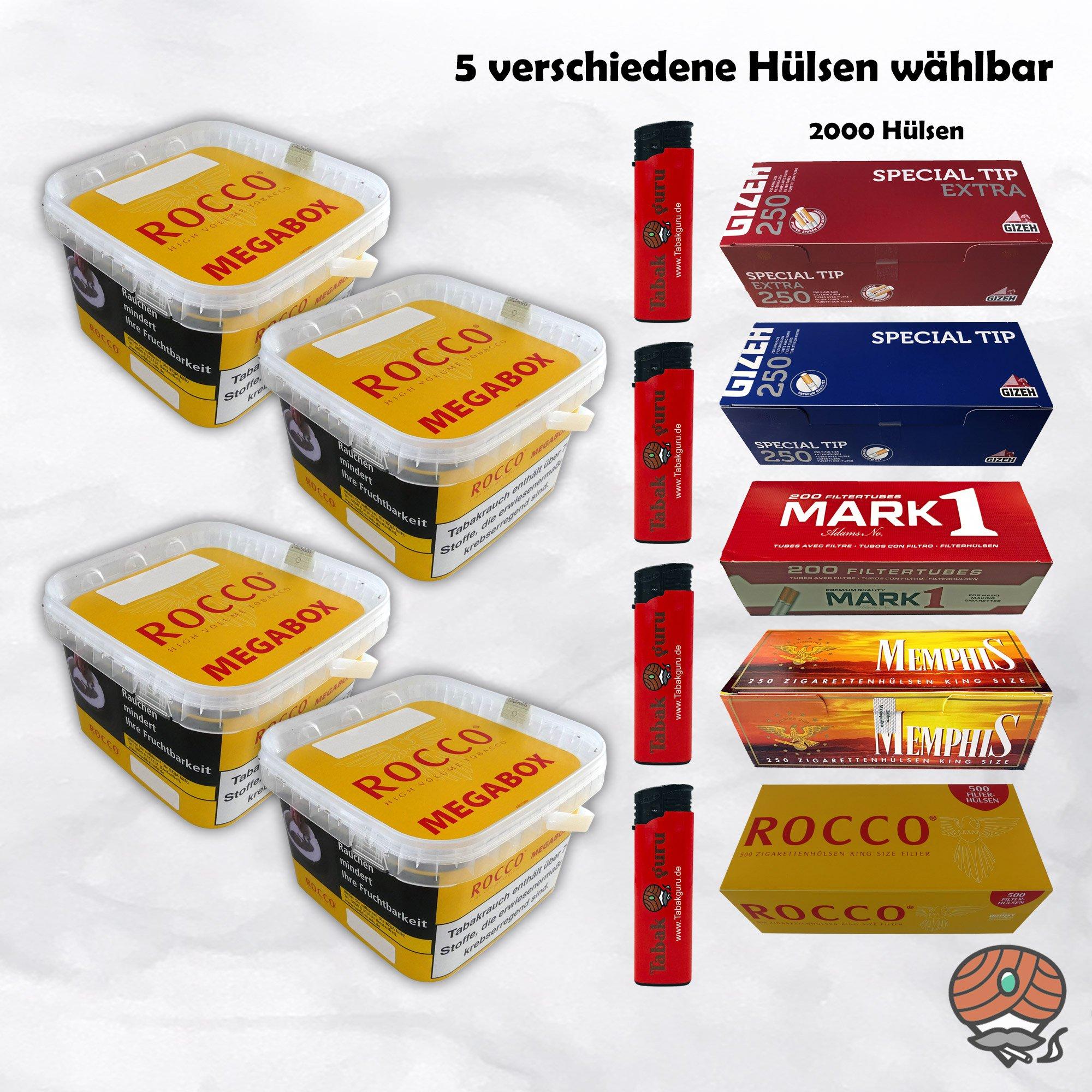 4 x ROCCO Volumentabak Gelb Megabox 210 g + 2.000 Hülsen wählbar - Angebot ohne Hülsen