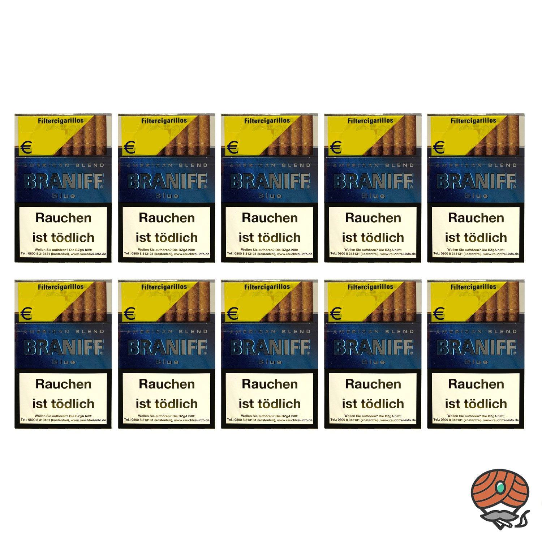 10 x Braniff Blue Filterzigarillos á 17 Stück - 1 Stange