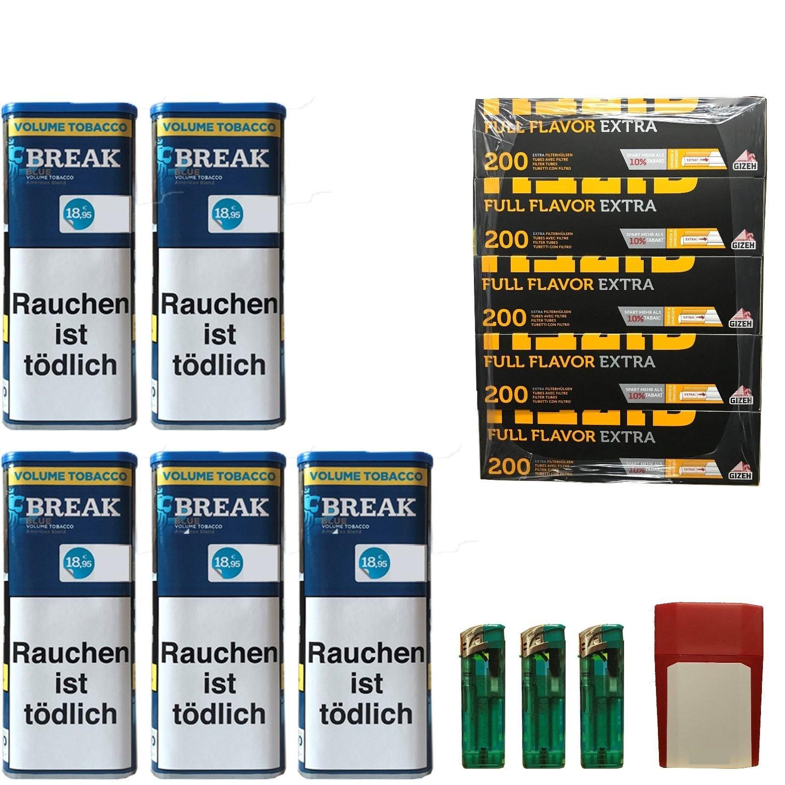 5x Break Blue/Blau XXL Volumentabak 120, Full Flavor Extra Hülsen, Feuerz., Box