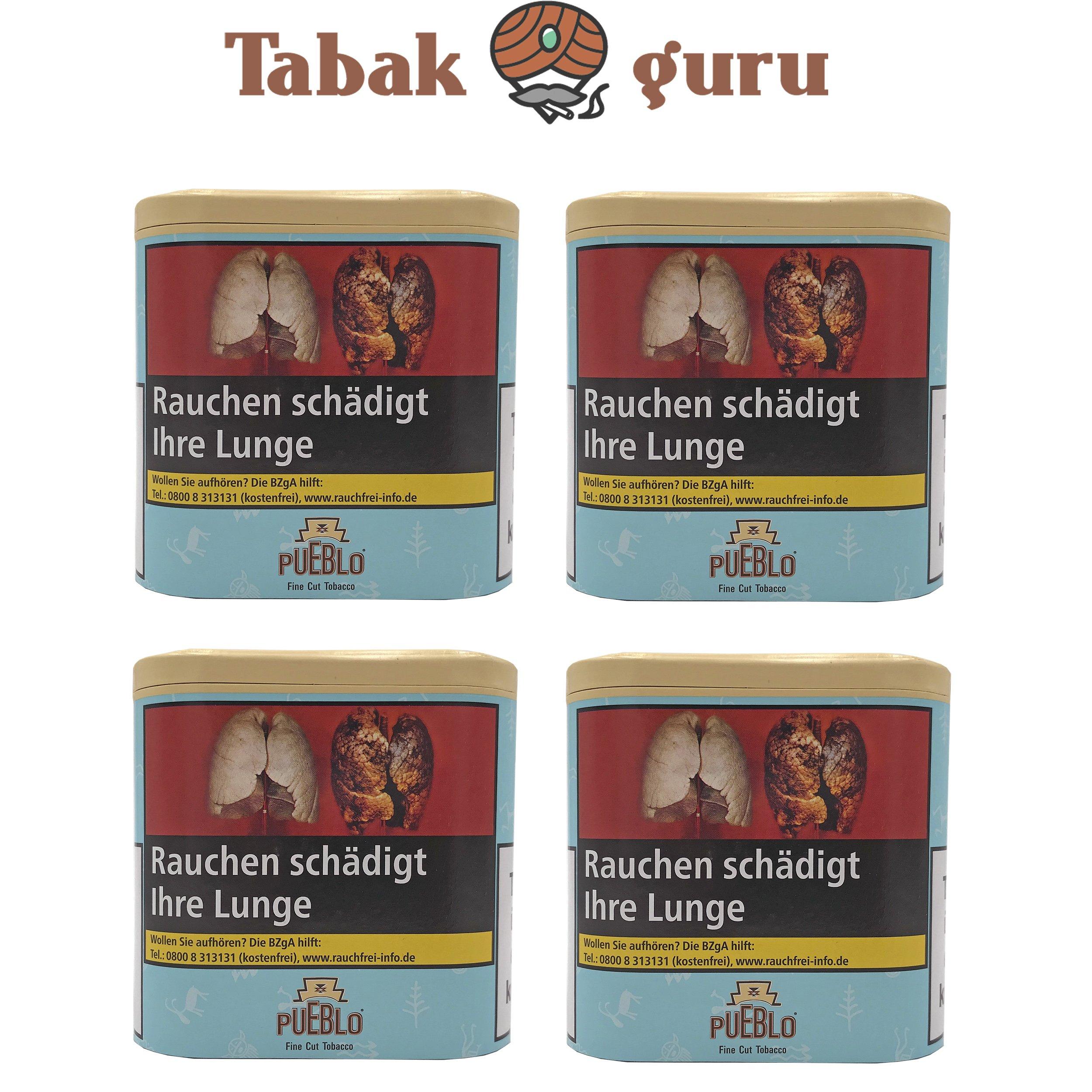 4x Pueblo Blau Feinschnitt Drehtabak Dose á 100g Tabak ohne Zusatzstoffe