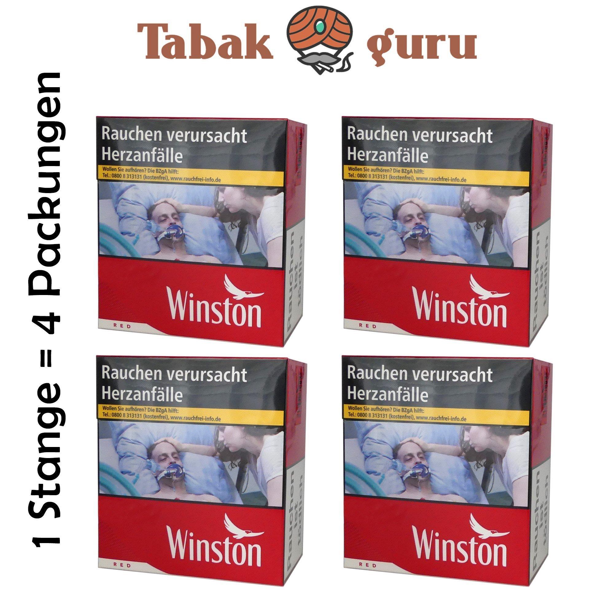 4 x Winston Red Classic 6XL Zigaretten 53 Stück - 1 Stange