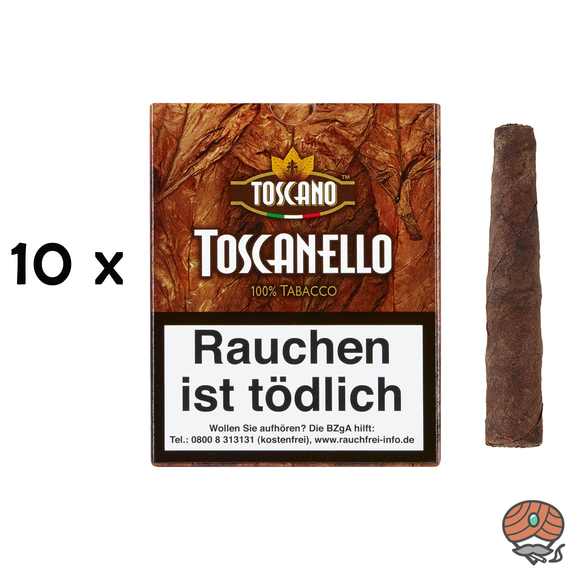 10 Schachteln Toscano Toscanello 100% Tabacco Zigarren 5 Stück