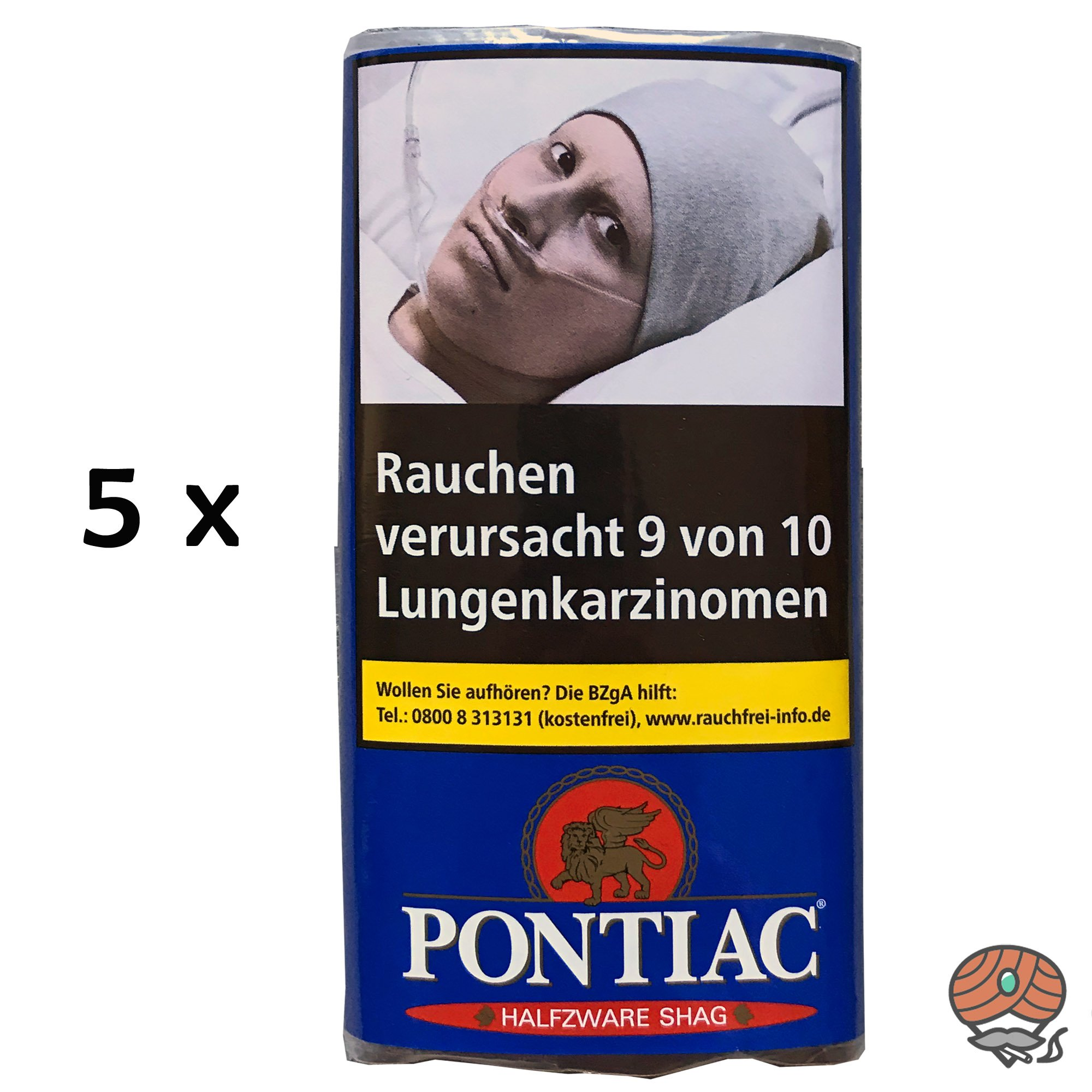 5x Pontiac Half-Zware Shag 30 g Zigarettentabak