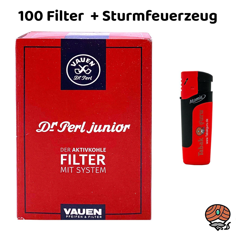 Dr. Perl Junior Jubig Aktivkohle Pfeifenfilter 9mm 100 Stück + Sturmfeuerzeug