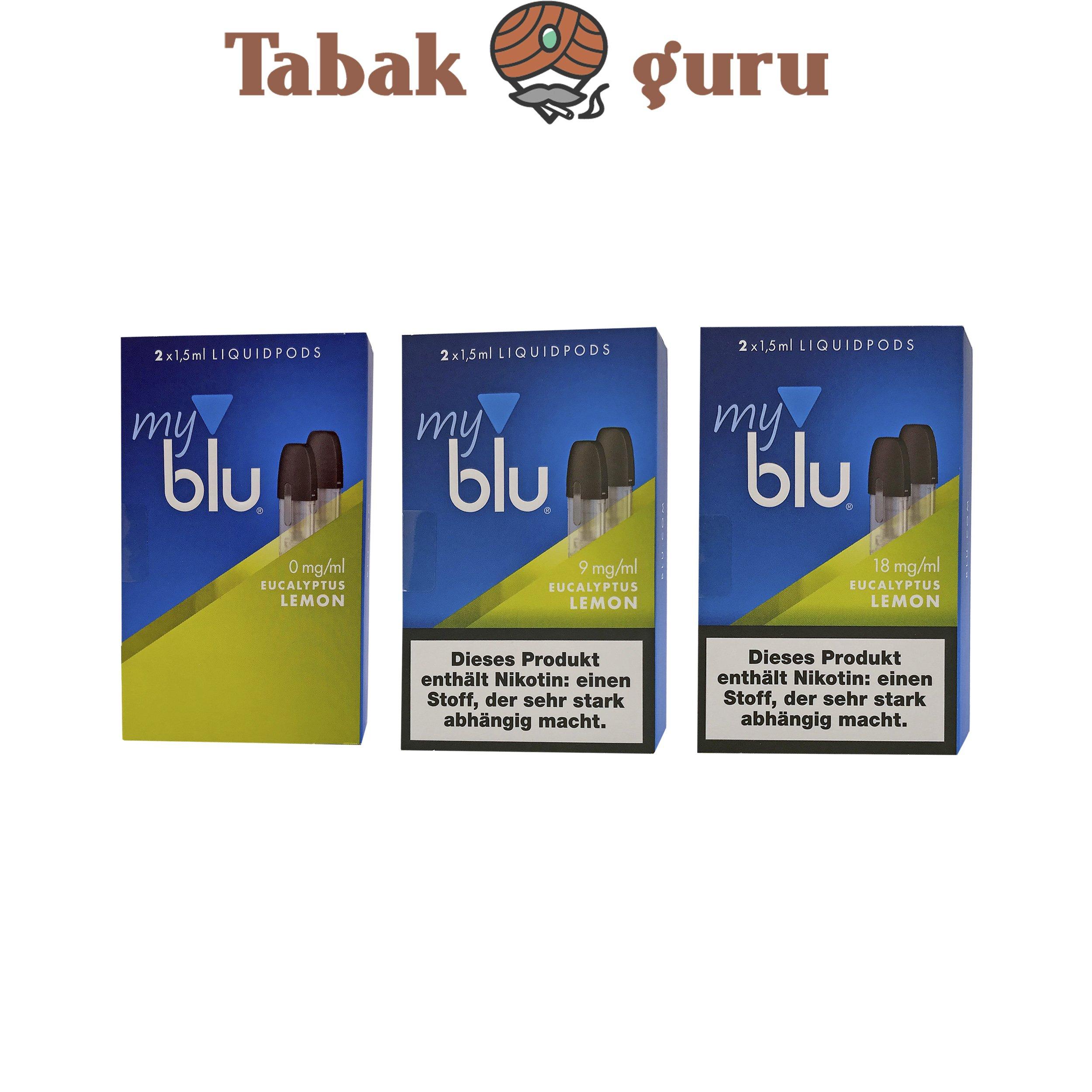 3x My Blu Liquid Pods Eucalyptus Lemon 0 mg / 9 mg / 18 mg