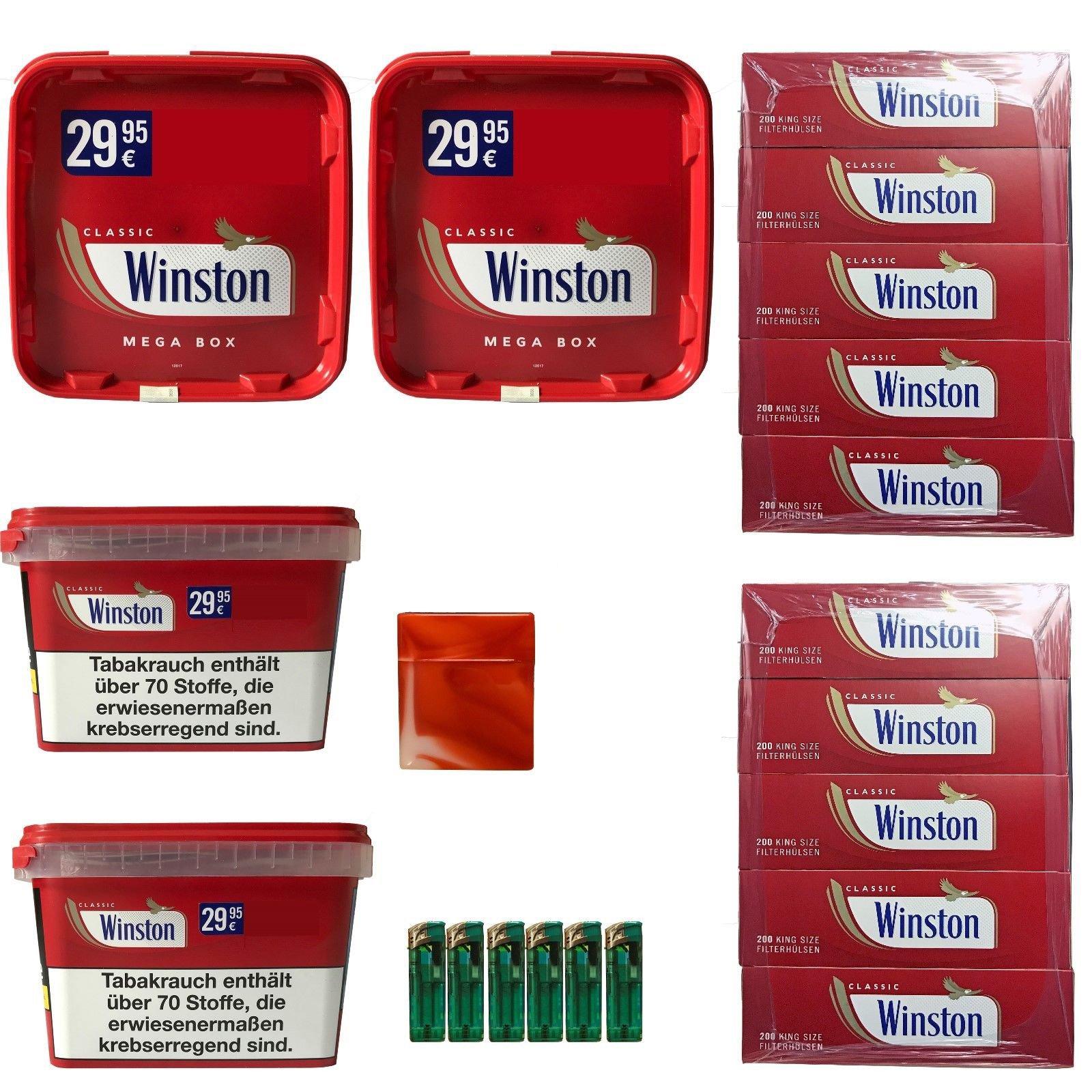 4 x Winston Tabak Mega Boxes 185g, Winston Hülsen, Feuerzeuge