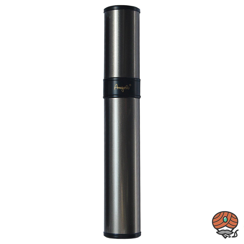 Angelo Zigarren Tube aus Edelstahl, silber, für 1 Zigarre bis Ringmaß 55