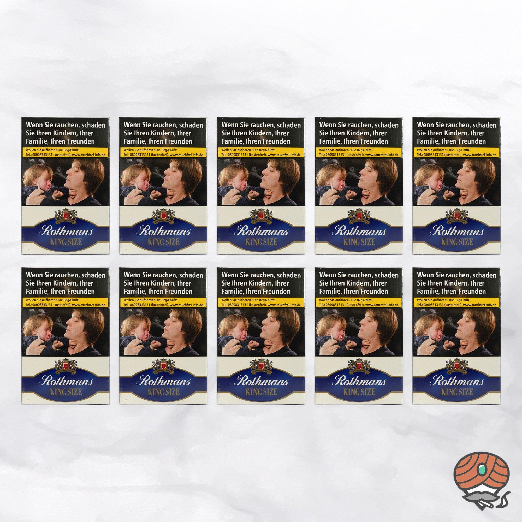 10 x Rothmans King Size Filterzigaretten à 20 Stück - 1 Stange