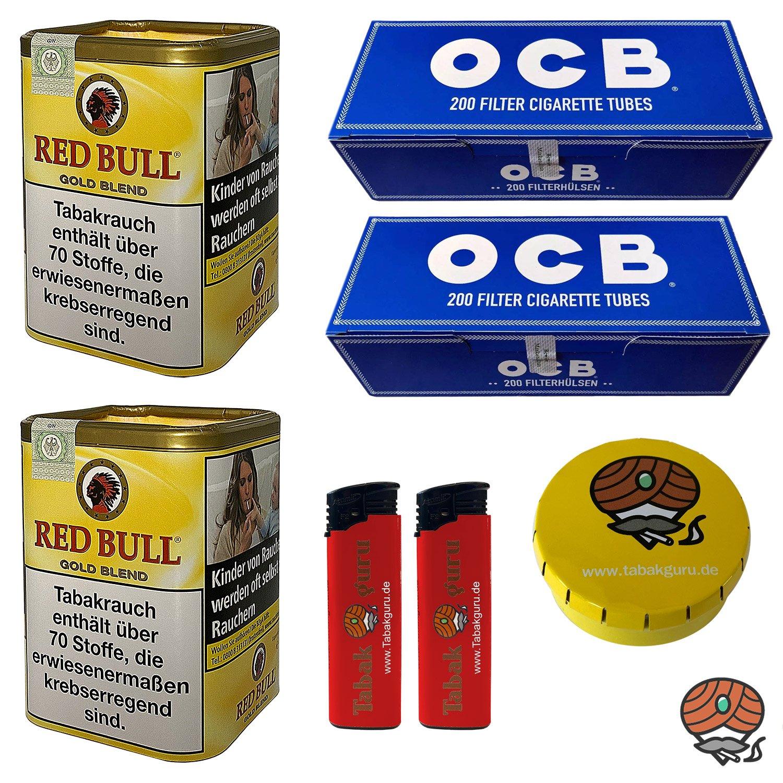2x Red Bull Gold Blend Zigaretten-Tabak 120g Dose + 400 OCB Blau / Blue Hülsen + Zubehör