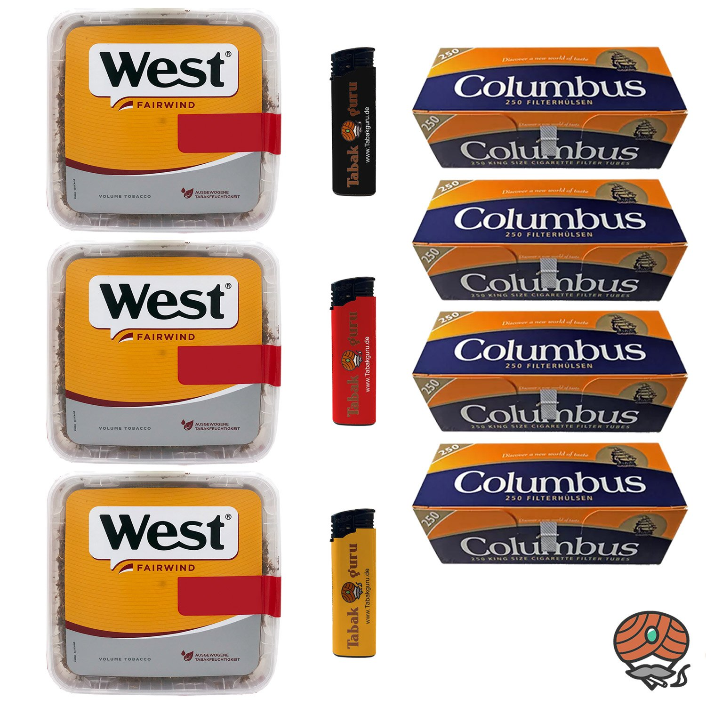 3x West Yellow Tabak 185g Volumentabak + 1.000 Columbus Hülsen + Feuerzeuge
