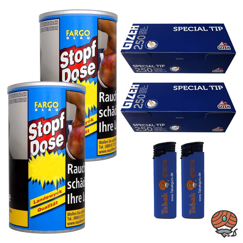2 x Fargo Blau XXL Stopf-Dose 140g Feinschnitt-Tabak + Gizeh Special Tip Hülsen