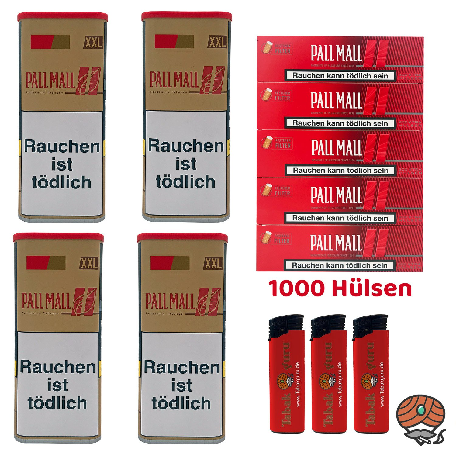 4x Pall Mall Authentic Red / Rot Tabak à 95 g, Pall Mall Xtra Hülsen, Feuerzeuge
