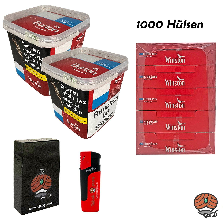 2x Burton Red Volumentabak XXXL Eimer 350g, Hülsen, Sturmfeuerzeug, Box