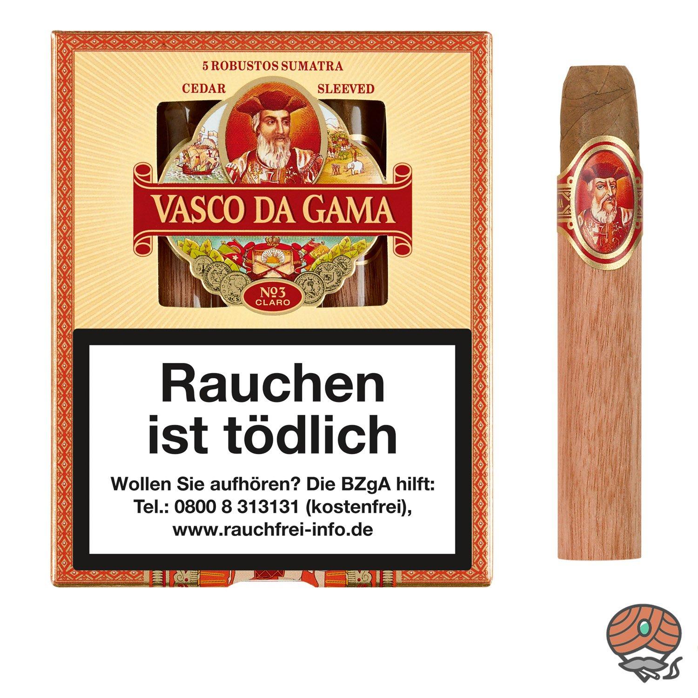 Vasco da Gama Robusto Sumatra Claro No. 3 Zigarren, 5 Stück