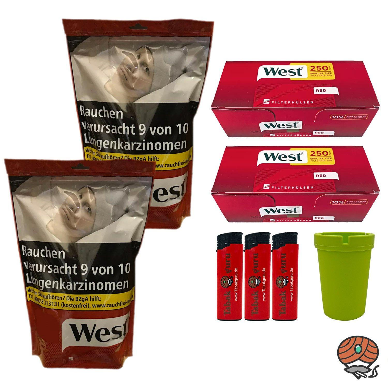 2 x West Red / Rot 200g Volumentabak Beutel + 500 West Extra Hülsen + Zubehör