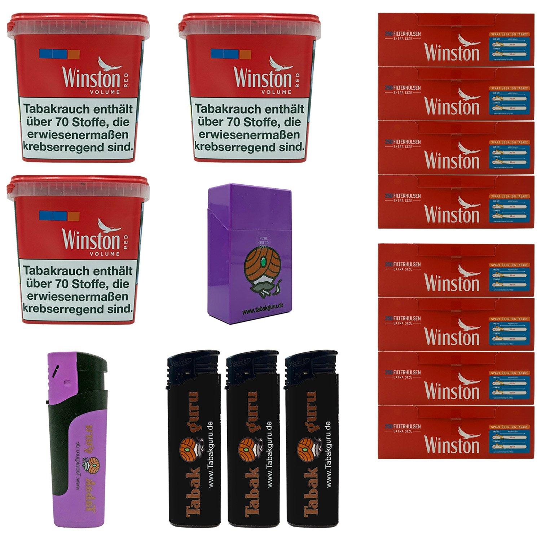 3x Winston Classic Red/Rot Giant Box 260g Volumentabak, 2000 Extra Hülsen, Zubehör