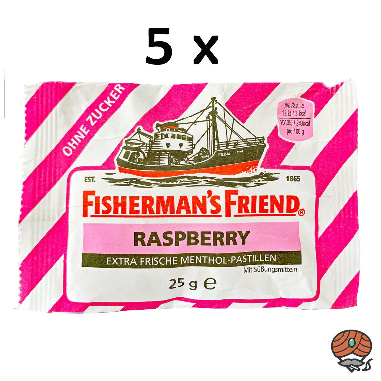 5x Fisherman`s Friend Menthol-Pastillen Raspberry - Himbeere