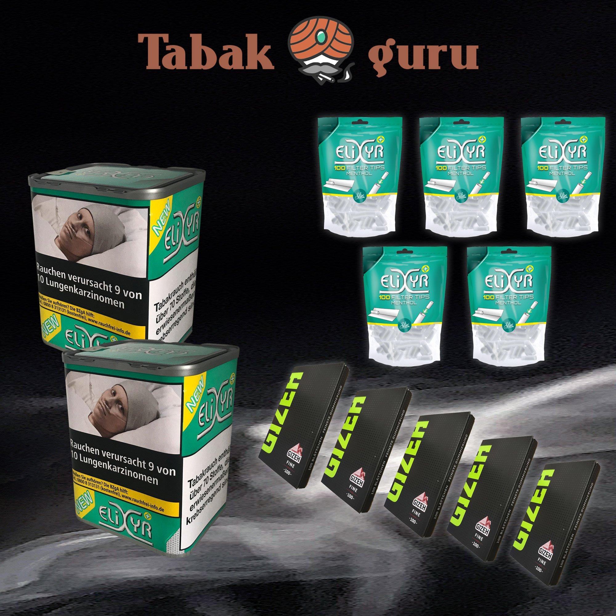 2 x Elixyr PLUS Tabak 115g Zigarettentabak + 5x Tips + 5x Zigarettenpapier