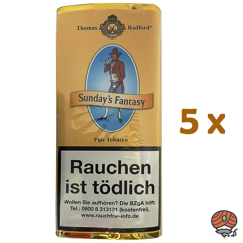 5x Thomas Radford Sunday´s Fantasy Pfeifentabak Pouch à 50 g