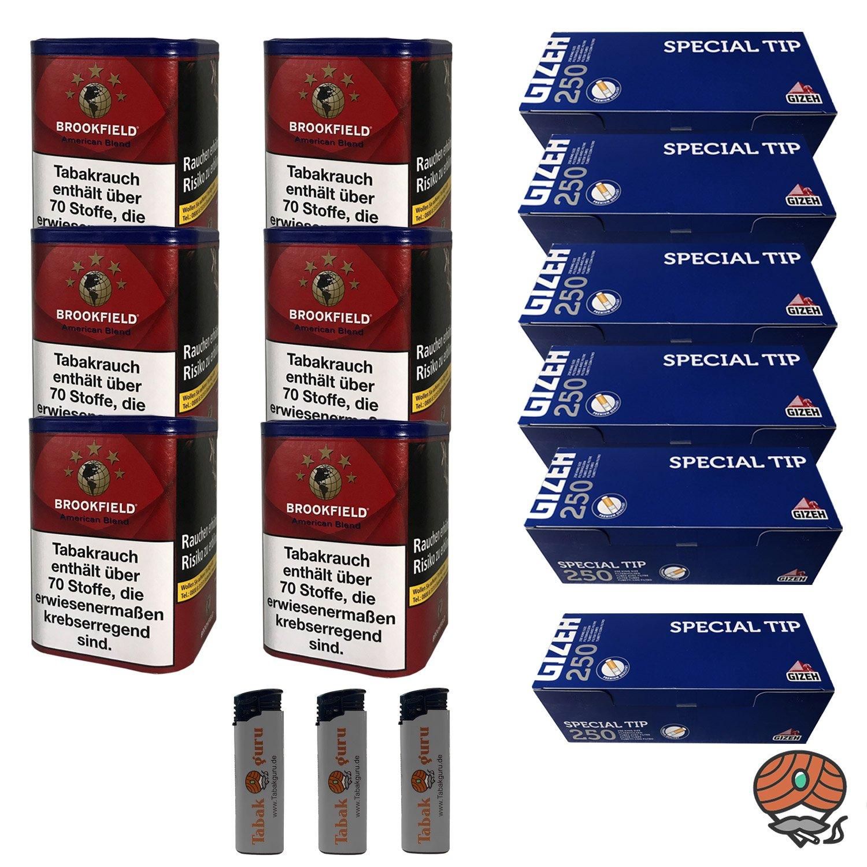 6 x Brookfield American Blend 120 g Dose + 6 x Gizeh Special Tip Hülsen + mehr
