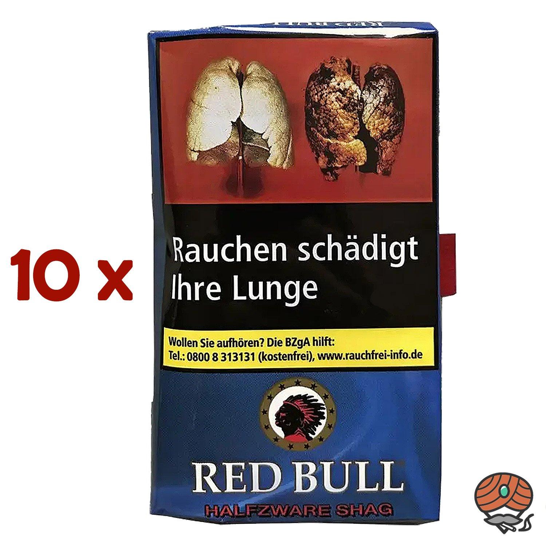 10 x Red Bull Halfzware Shag Zigarettentabak 40 g Pouch