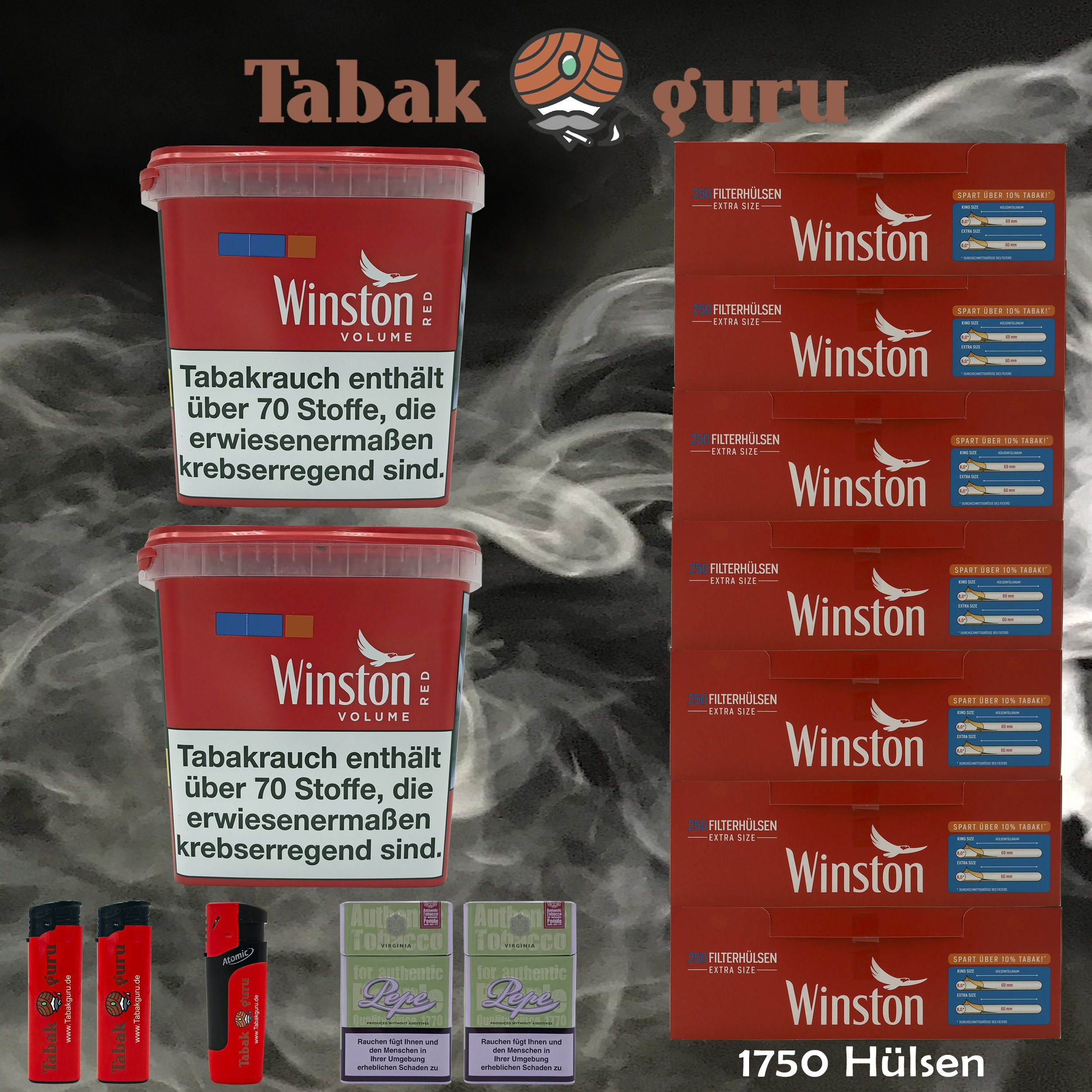 2x Winston Classic Red/Rot Giant Box 280g Volumentabak, 1750 Extra Hülsen, Zubehör