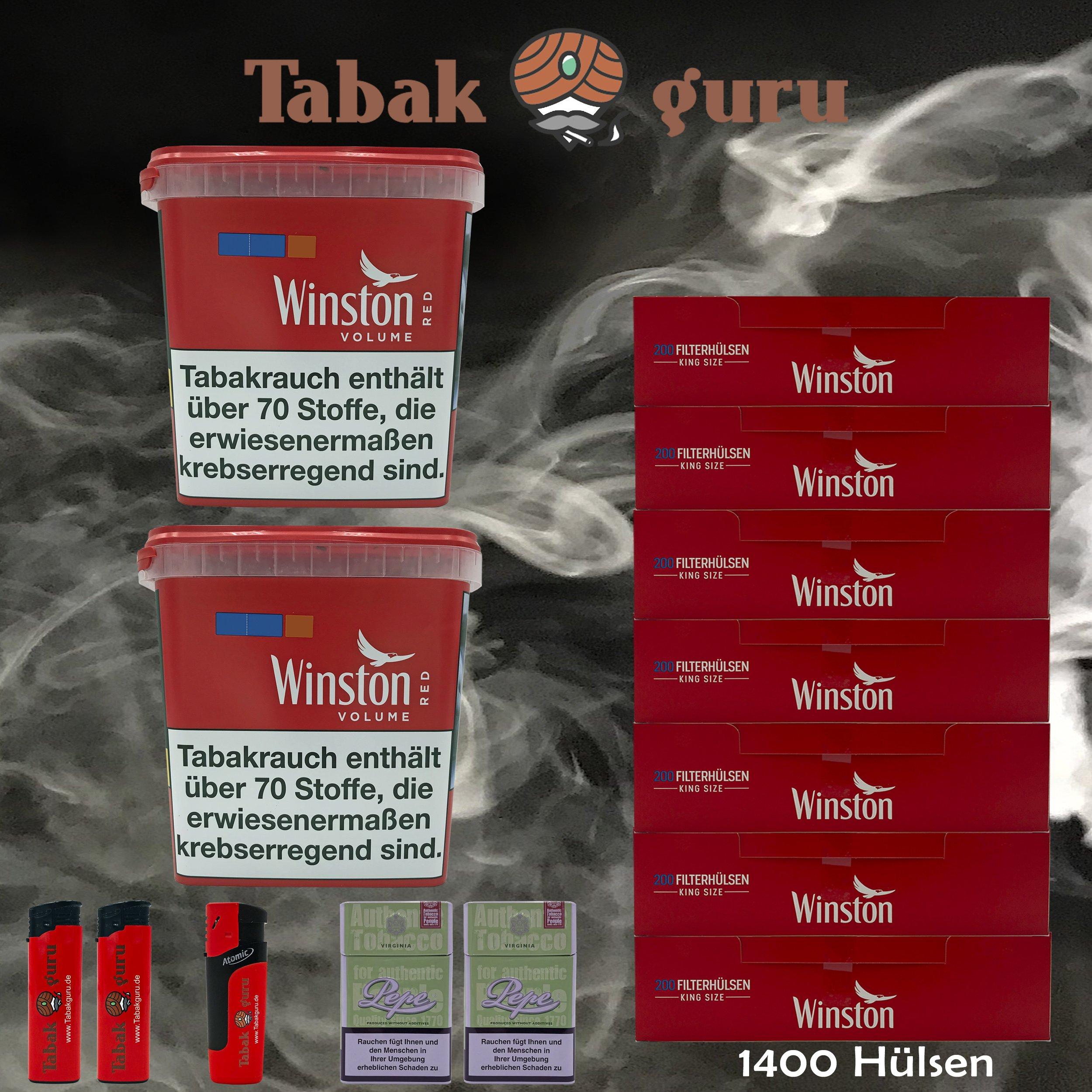 2x Winston Classic Red/Rot Giant Box 280g Volumentabak, 1400 Hülsen, Zubehör