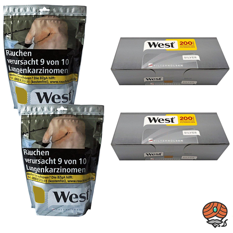 2 x West Silver Beutel Volumentabak à 105 g + 400 West Silver Hülsen