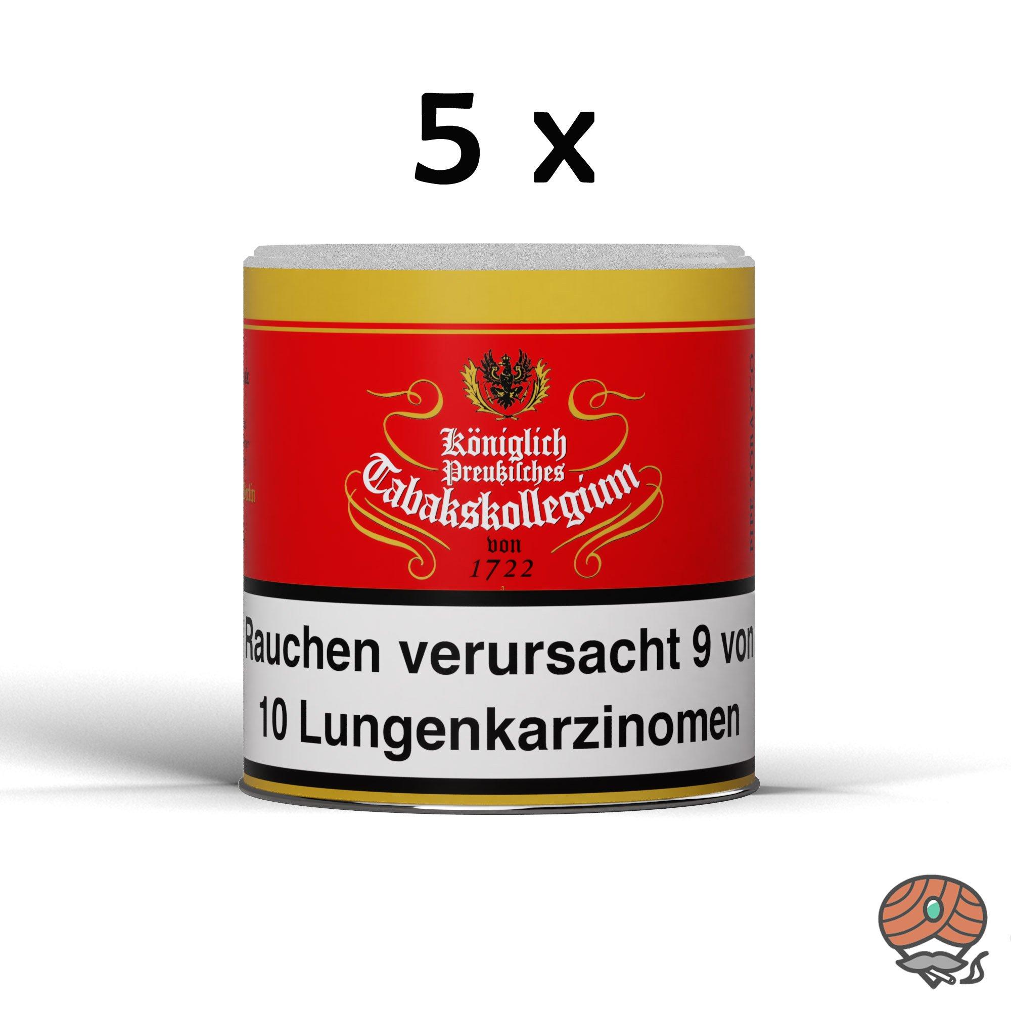 5 x Königlich Preußisches Tabakskollegium (KPT) Rot 1722 Pfeifentabak 100 g