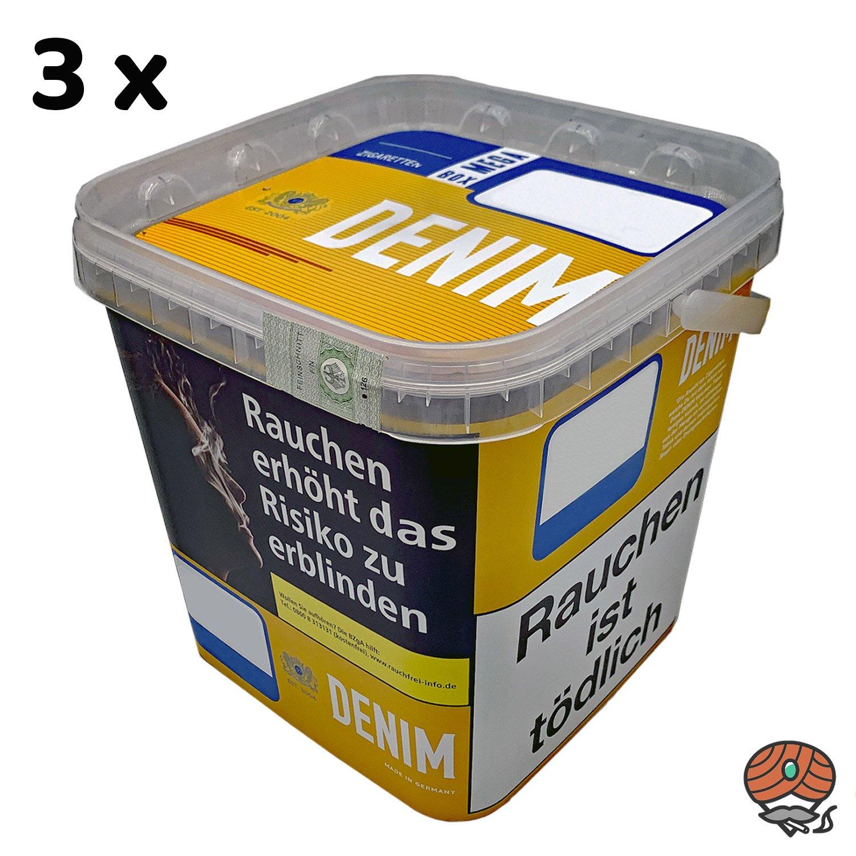 3 x Denim Mega Box Volumentabak à 290g Eimer