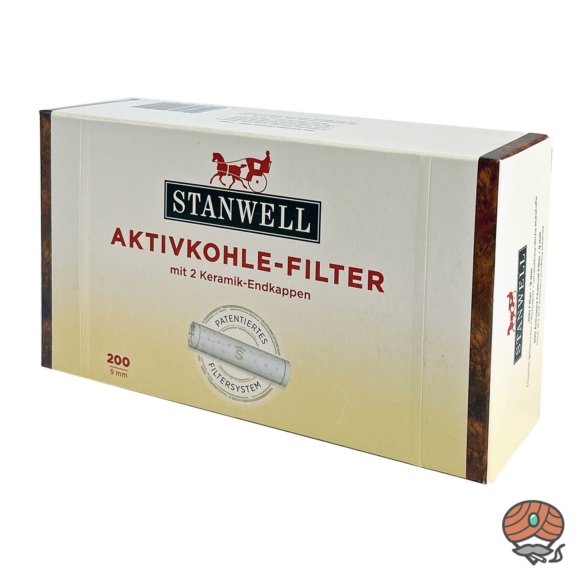 Stanwell Aktivkohle-Filter 9mm mit 2 Keramik-Endkappen 200 Stück