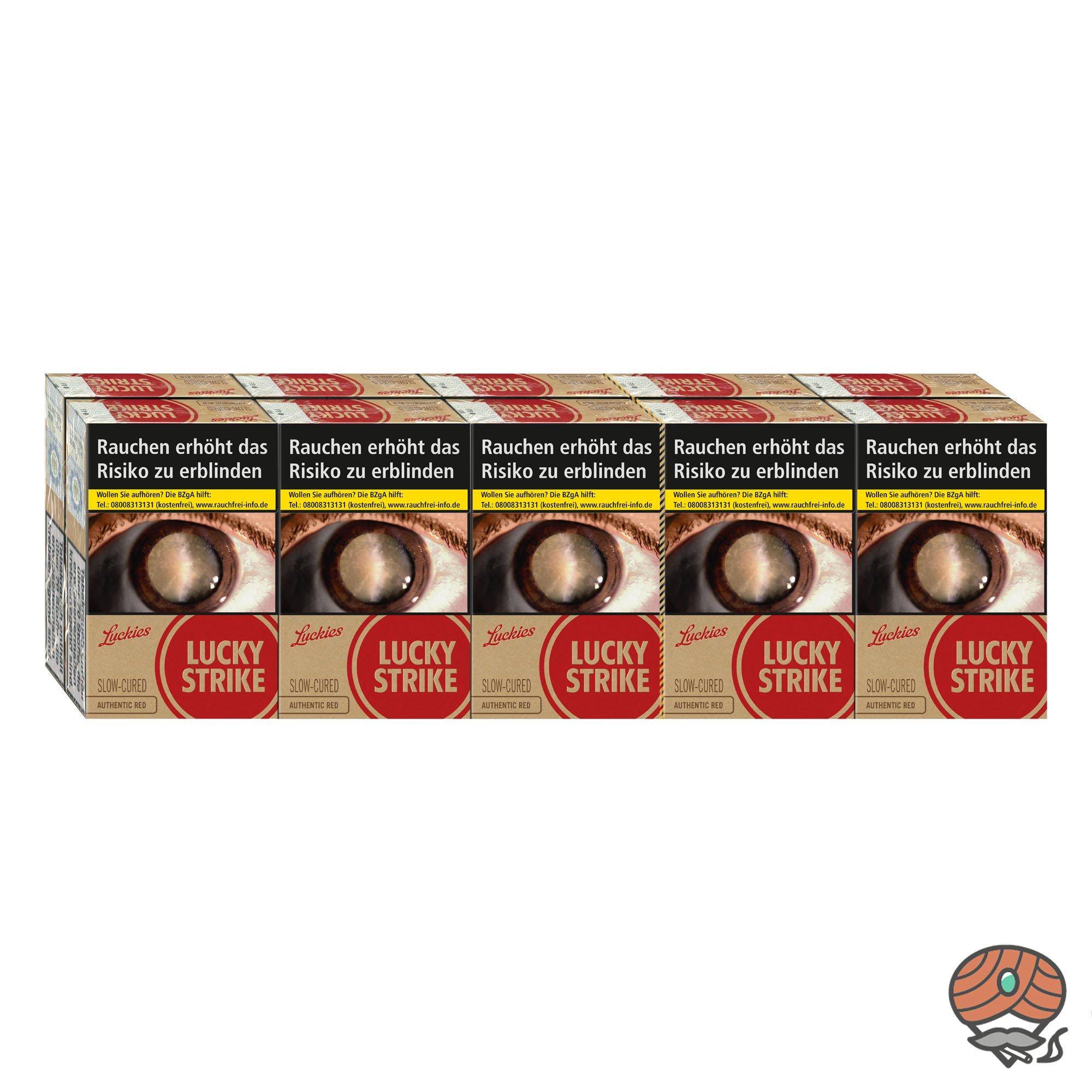 Lucky Strike Authentic Red Zigaretten (ohne Zusätze) Inhalt 10 x 20 Stück = 1 Stange
