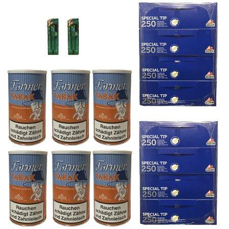 6x Farmer Tabak Dosen / Pfeifentabak 170g, Gizeh Filterhülsen, Feuerzeuge
