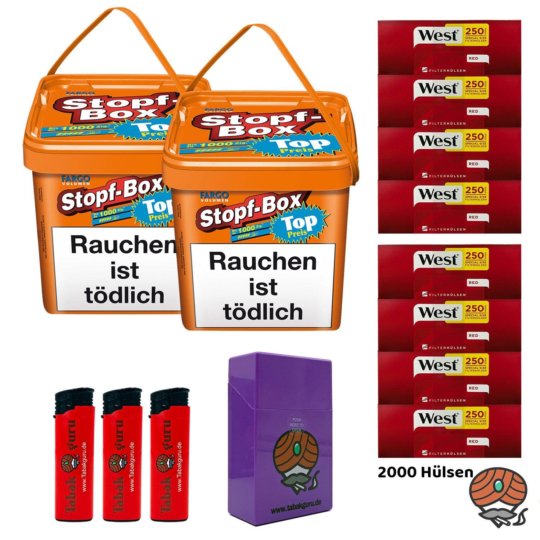 2 x Fargo Stopf-Box 480 g Volumentabak + 2.000 West Extra-Hülsen + Box