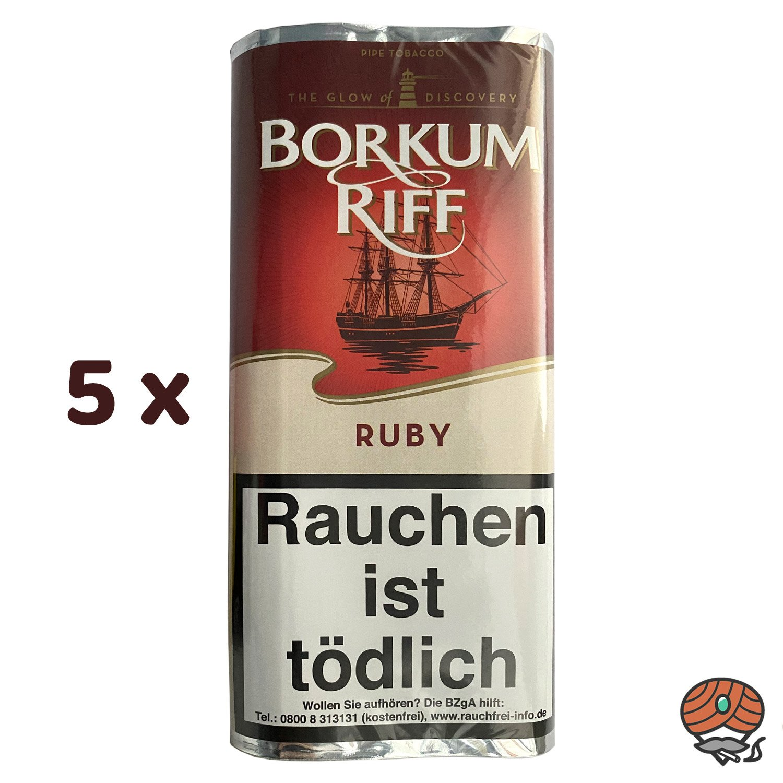 5 x Borkum Riff RUBY Pfeifentabak 50g Pouch