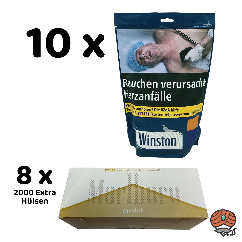 10x Winston Blue / Blau Volumentabak 135 g Beutel + 8x Marlboro Gold Extra Hülsen