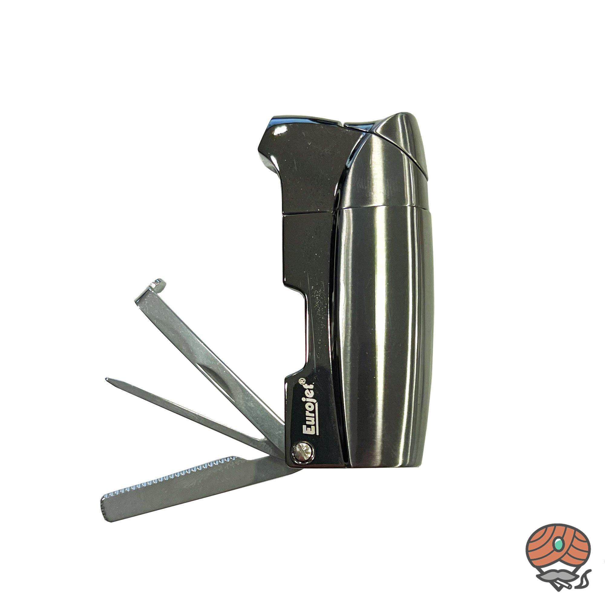Eurojet Metall-Pfeifenfeuerzeug Soft-Flamme, mit Pfeifenbesteck, Anthrazit