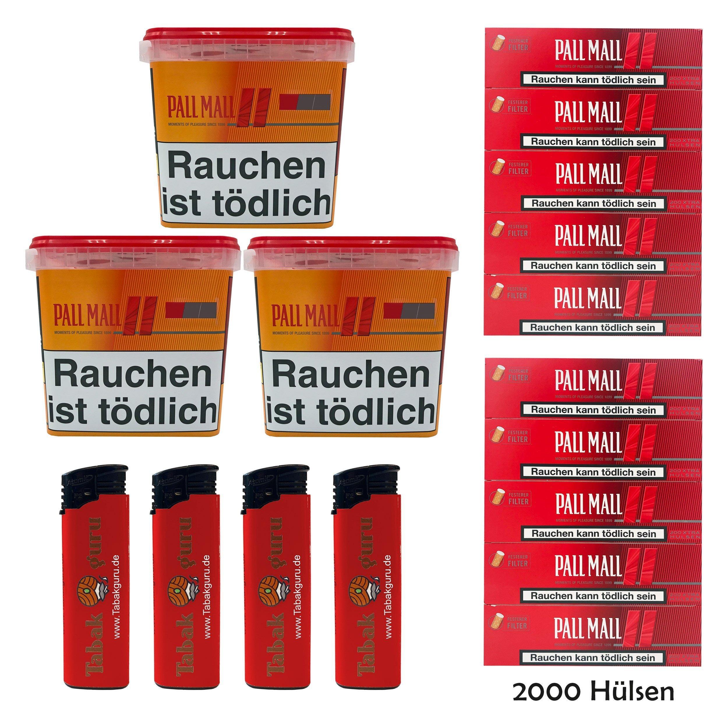 3x Pall Mall Allround Giga Box 260 g Tabak/Volumentabak, Red Xtra Hülsen, Feuerz.