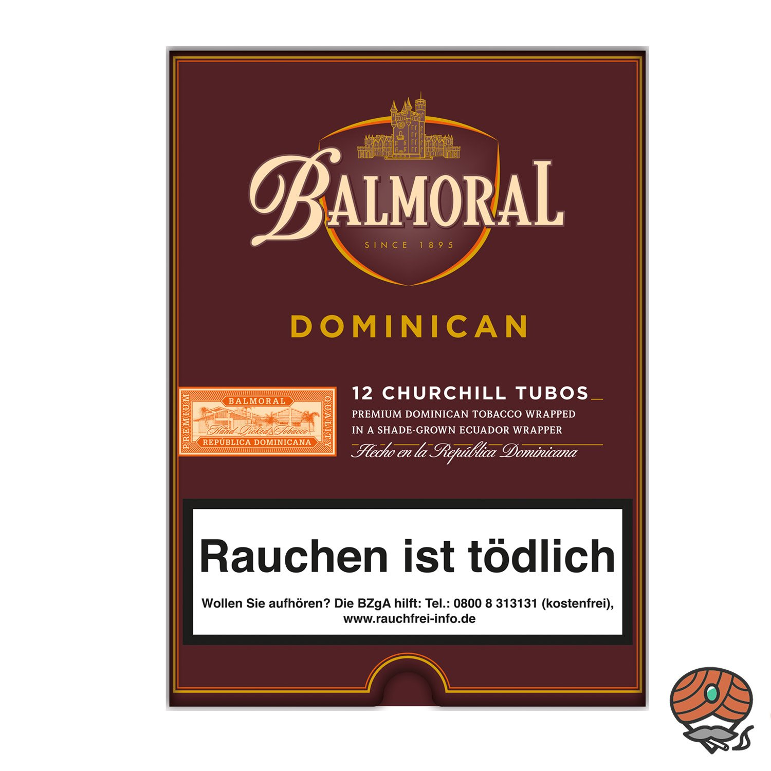 Balmoral Dominican Selection Churchill Tubos Zigarren, 12 Stück