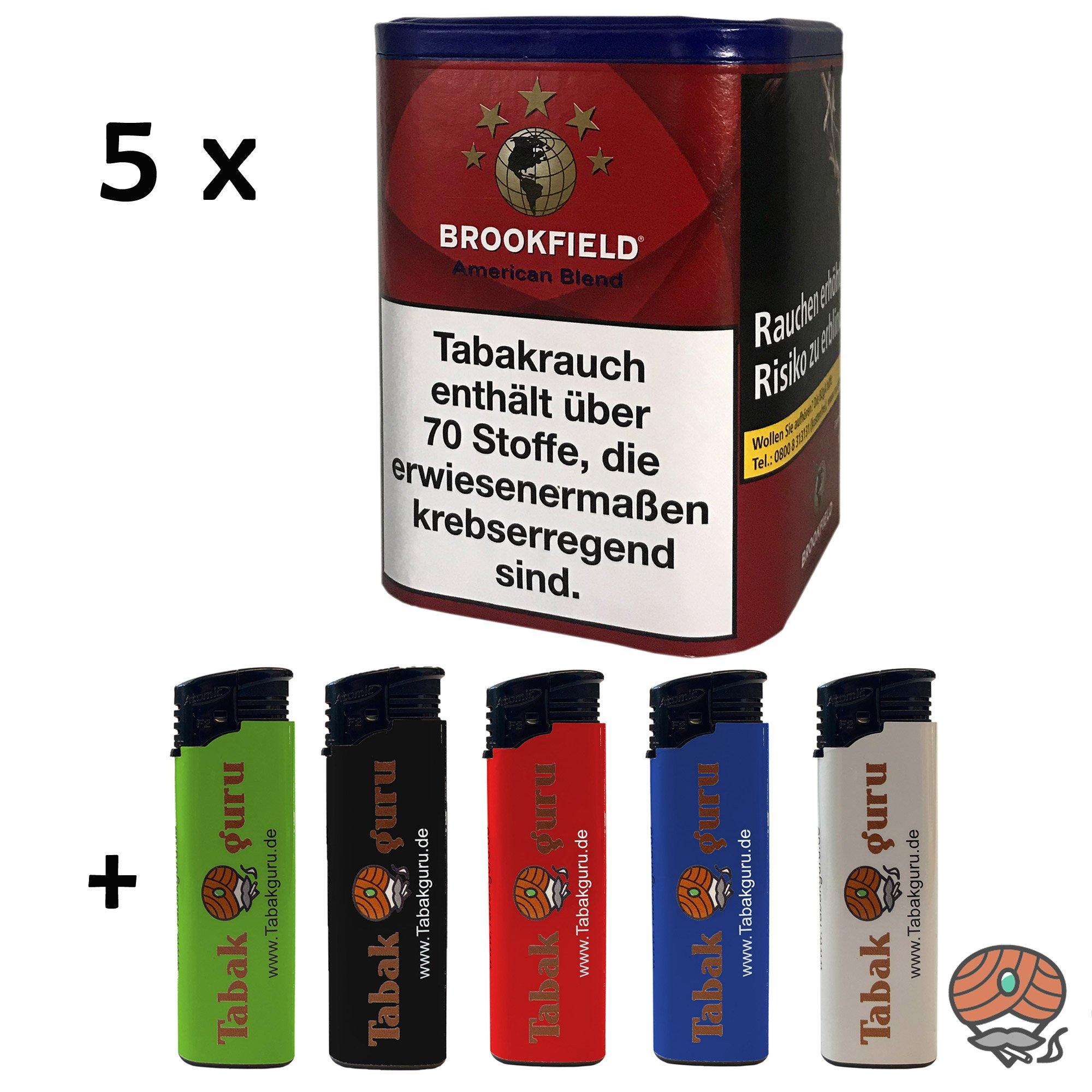 5x Brookfield American Blend Feinschnittabak à 120g + Zubehör