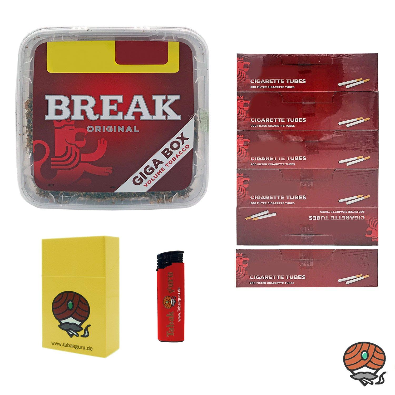 1x Break Volumentabak Giga Box 230g + 1.200 Hülsen + Zubehör