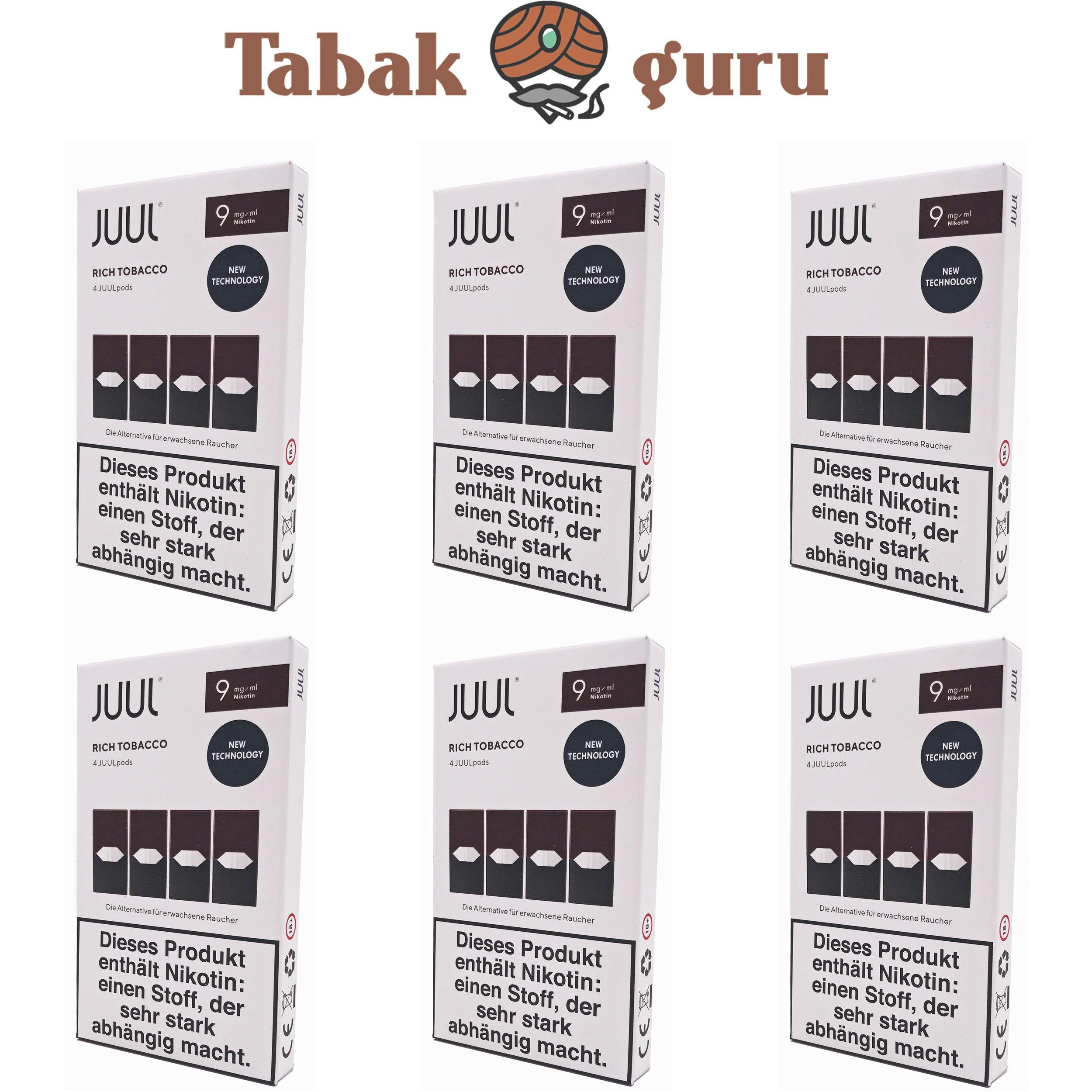 JUUL 6 Packungen Rich Tobacco Pods 9mg/ml á 4 Pods