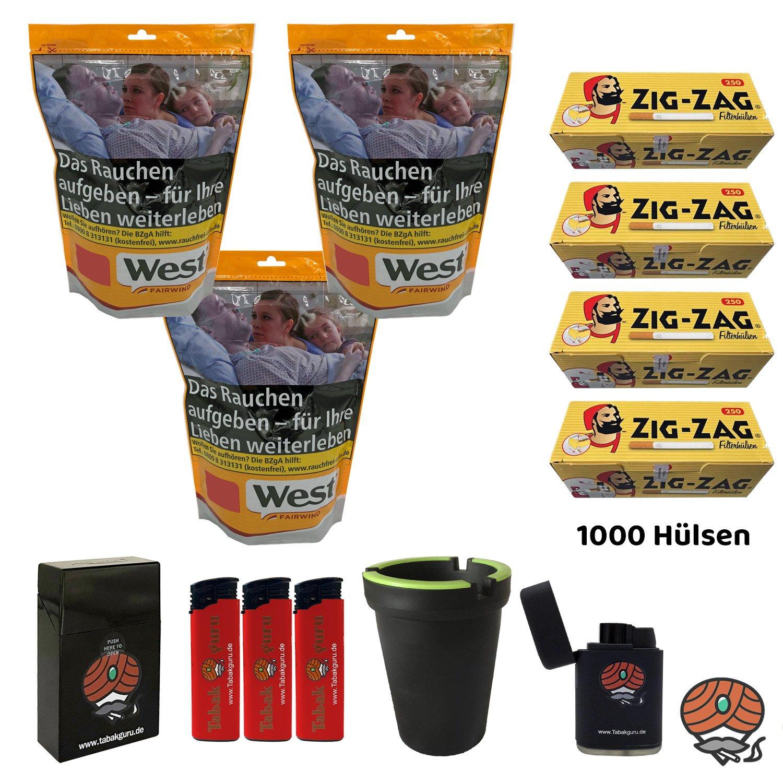3x West Yellow 120g Tabak/Volumentabak Beutel, Zig Zag Hülsen, Feuerzeuge, Zubehör