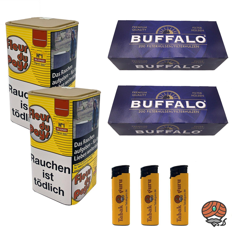 2 x Fleur du Pays No 1 Blond Feinschnitt-Tabak 150 g + 2 x Buffalo Blau Hülsen + mehr