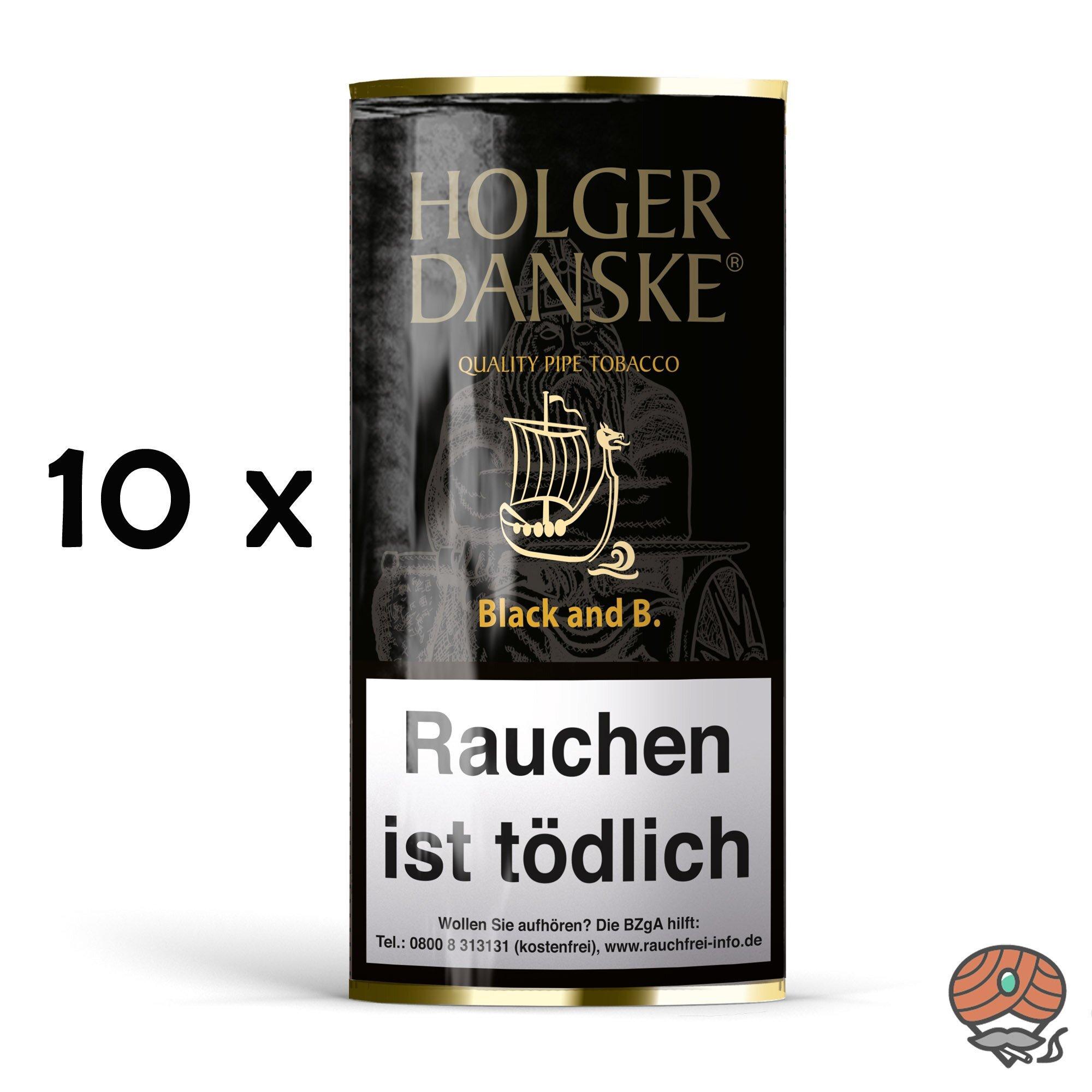 10x Holger Danske Black and Bourbon Pfeifentabak á 40g