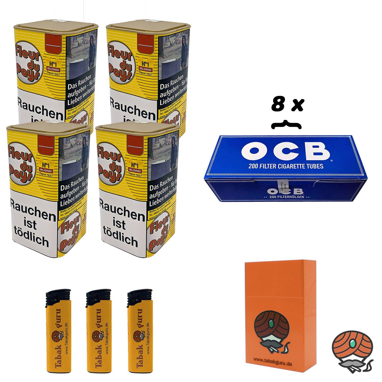4 x Fleur du Pays No 1 Blond Feinschnitt-Tabak 150 g + 1600 OCB Hülsen + mehr