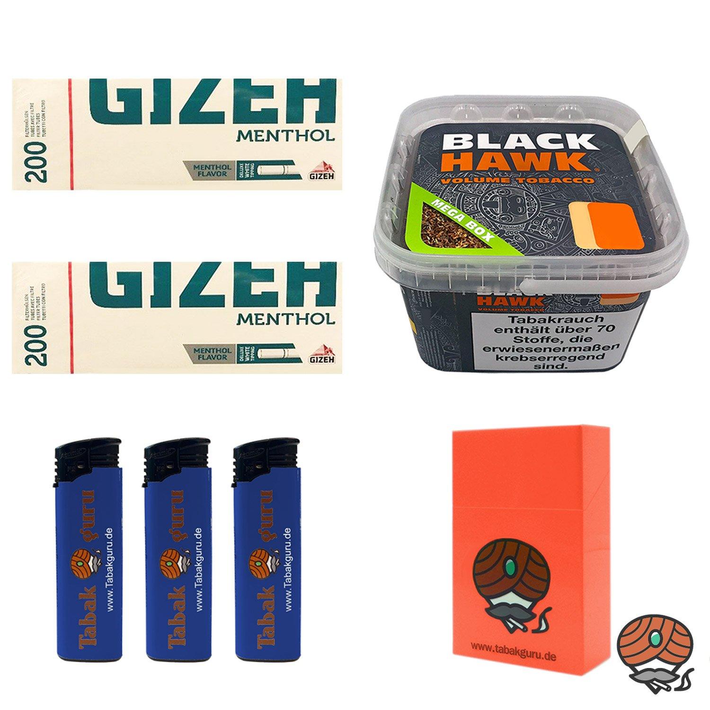Black Hawk Volumentabak 230 g Mega Box + 2 x Gizeh Menthol Hülsen + weiteres
