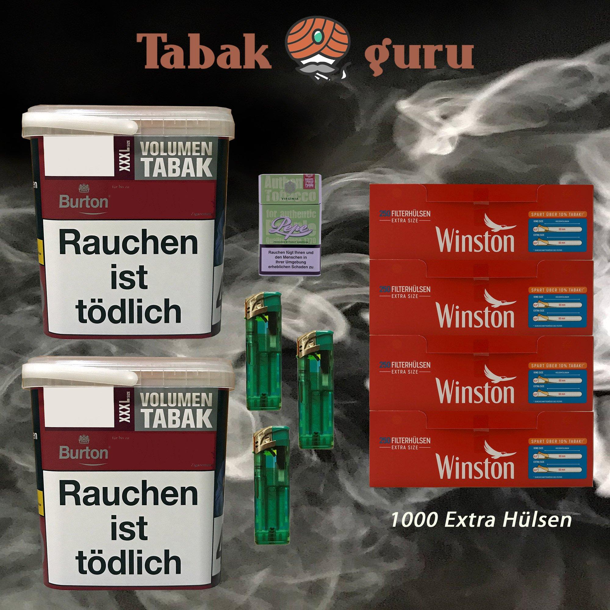 2x Burton Red Volumentabak / Zigarettentabak XXXL Eimer 370g + Winston Extra Hülsen