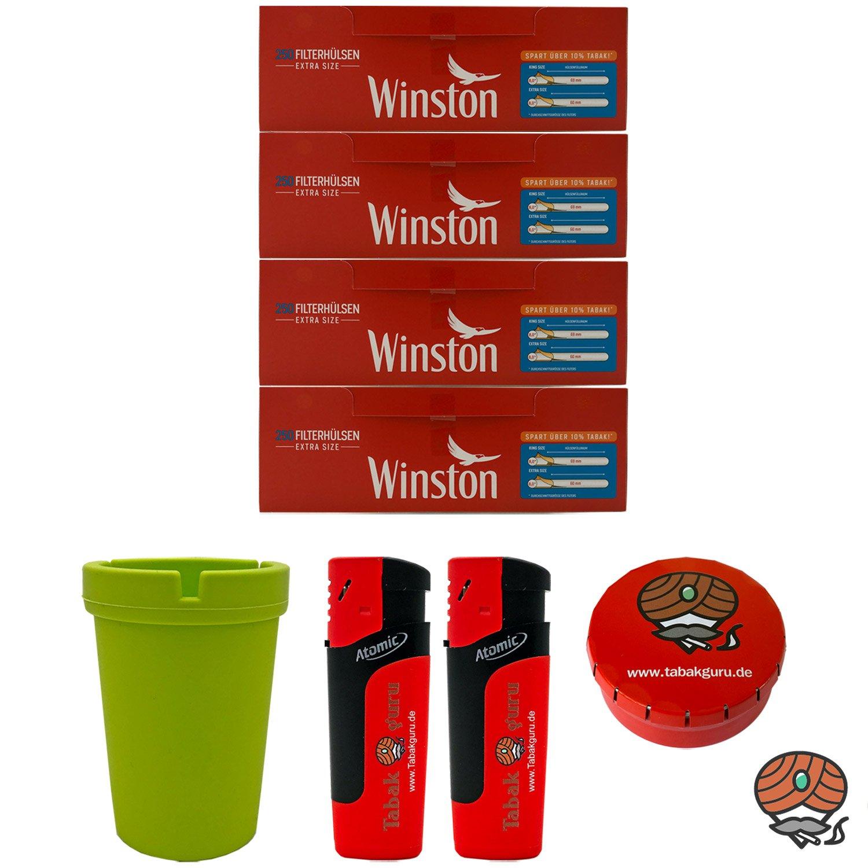 4 Pack Winston Extra Filterhülsen + Autoaschenbecher + Zubehörartikel
